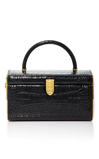 Medium judith leiber black embossed leather train case