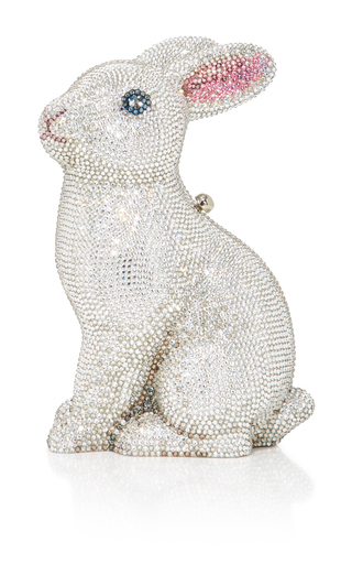 Medium judith leiber white ava bunny clutch