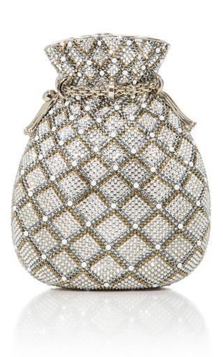 Medium judith leiber silver reticule pouch
