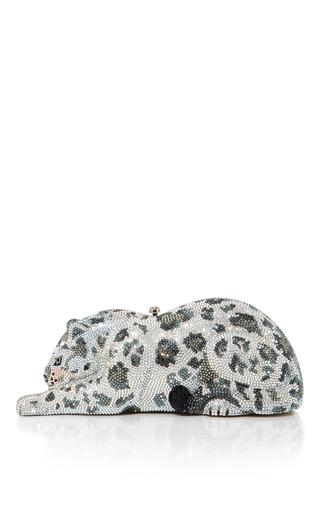 Medium judith leiber silver snow leopard wildcat clutch