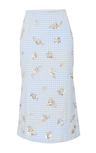 Medium brock print sawyer gingham sequin detail skirt