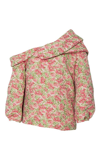 Medium hellessy floral flora twisted drape blouse