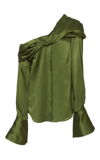 Medium hellessy green calla twisted draped blouse