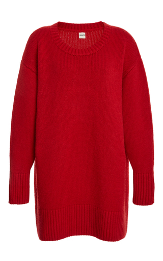 Medium khaite red frankie crewneck pullover