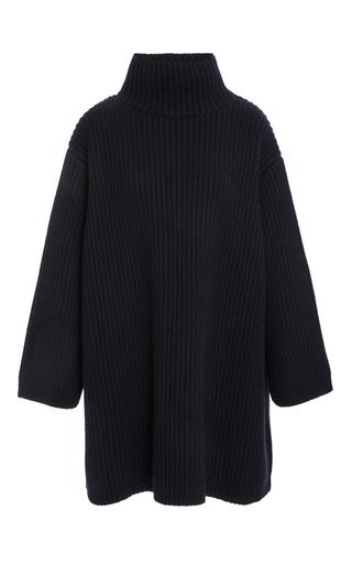 Medium khaite navy estella rib knit pullover
