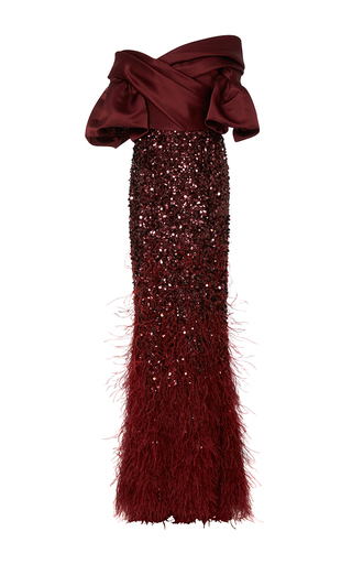 Medium elizabeth kennedy burgundy off the shoulder gown with feather embroidery