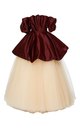 Medium elizabeth kennedy multi off the shoulder gown with bubble peplum and tulle skirt