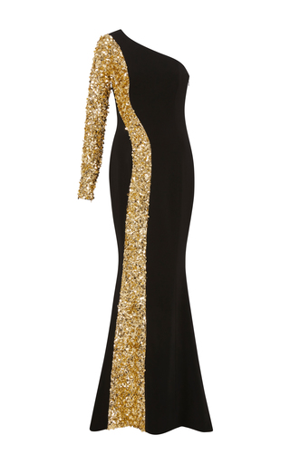 Medium elizabeth kennedy black one shoulder gown with contrasting sequin embroidery
