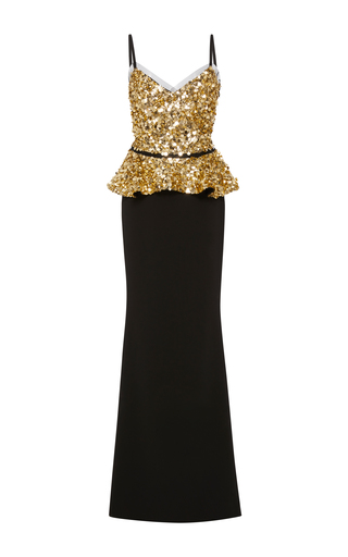Medium elizabeth kennedy black v neck gown with embroidered bodice and peplum