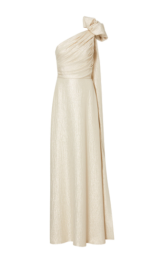 Medium elizabeth kennedy metallic one shoulder lame gown with bow and back train