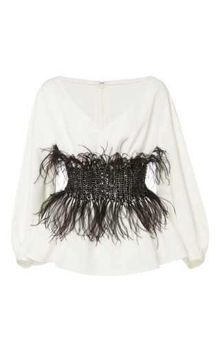 Medium elizabeth kennedy white v neck blouse with full sleeves and feather embroidery
