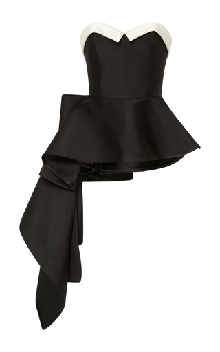 Medium elizabeth kennedy black bustier top with peplum