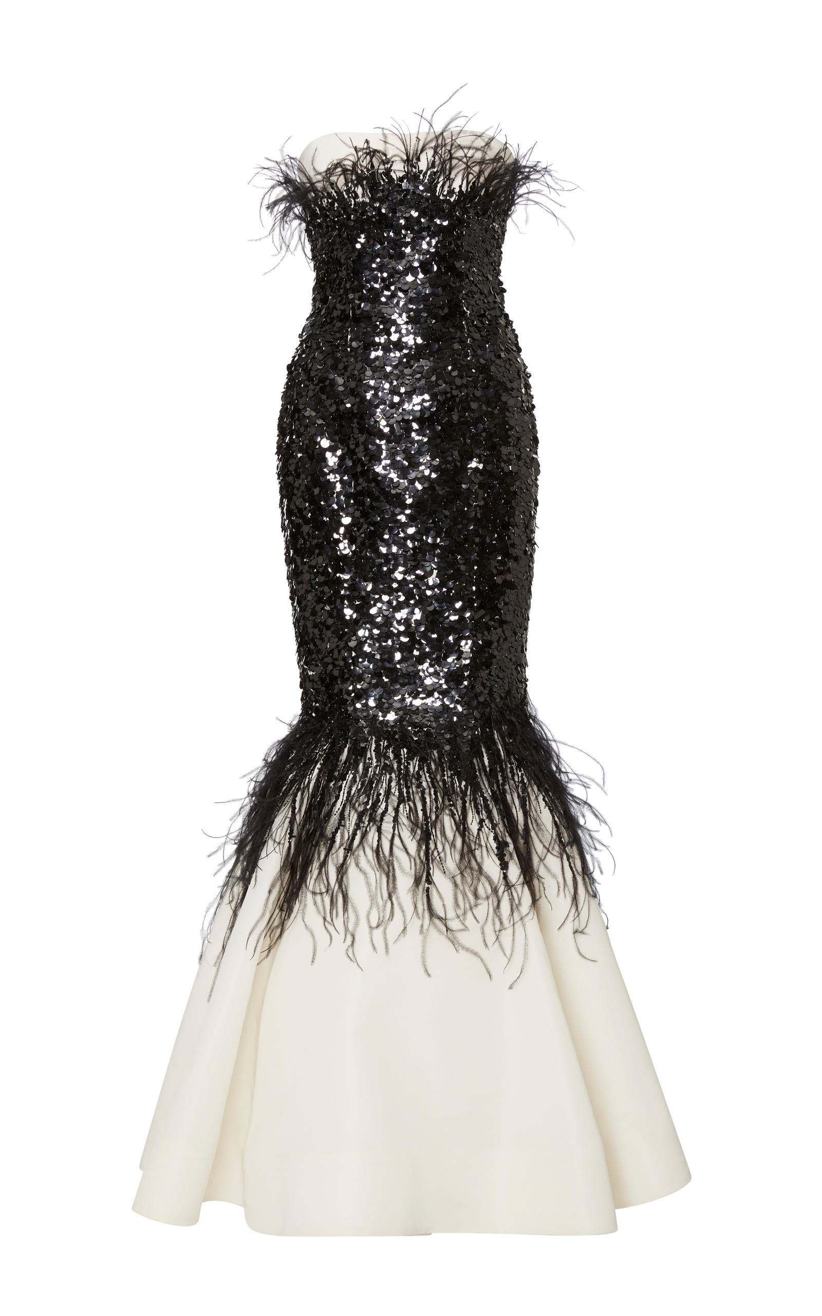 Strapless Mermaid Gown With Sequin And Feather Moda Operandi
