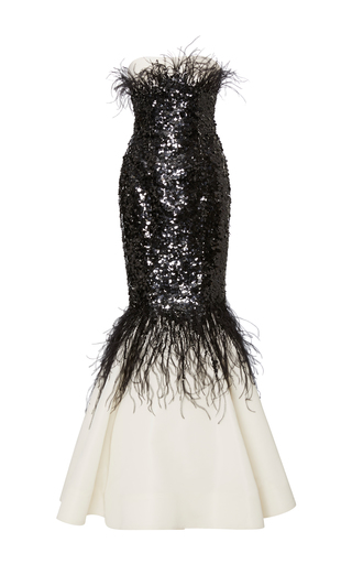 Medium elizabeth kennedy black white strapless mermaid gown with sequin and feather embroidery