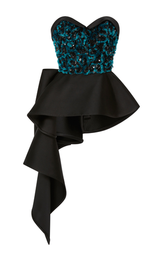 Medium elizabeth kennedy black bustier top with peplum and embroidery