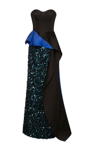 Medium elizabeth kennedy black strapless gown with bi colored peplum and cascade train 2