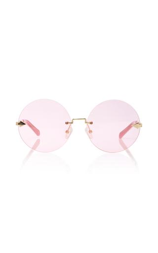 Medium karen walker pink disco circus round frame gold tone sunglasses
