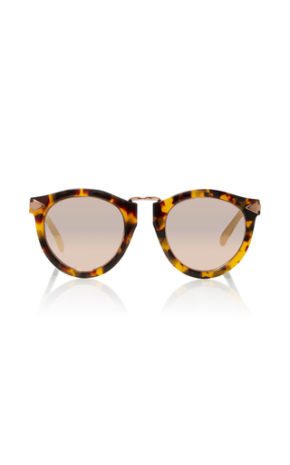 Medium karen walker brown harvest rose gold tone metal and tortoiseshell acetate sunglasses