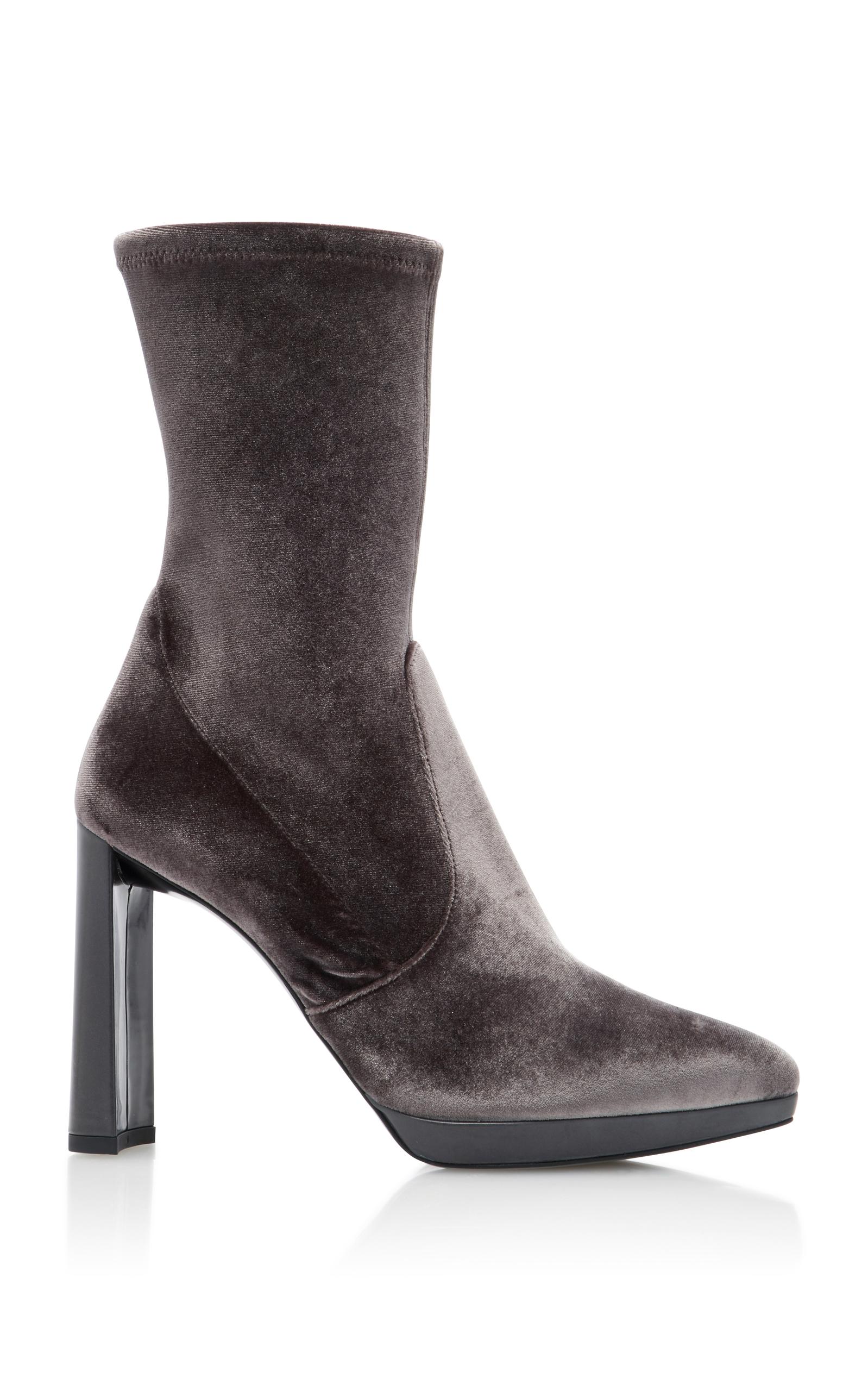 fa3e365325 Clinger Velvet Ankle Boots by Stuart Weitzman | Moda Operandi