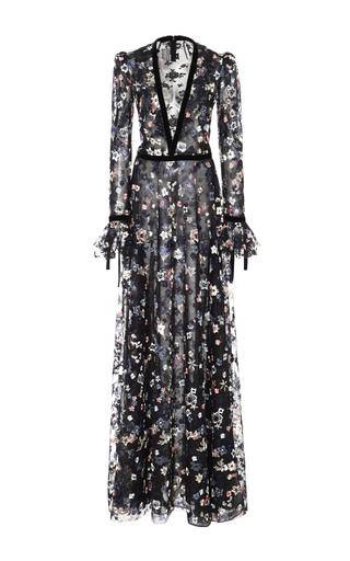 Medium monique lhuillier floral floral embroidered long sleeve gown