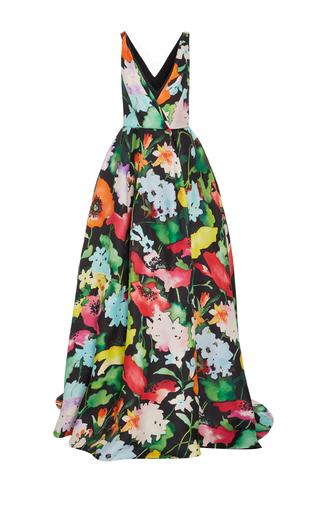 Medium monique lhuillier print v neck printed ball gown