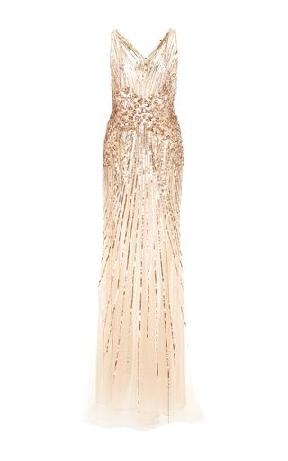 Medium monique lhuillier gold halter neck sequin embellished gown