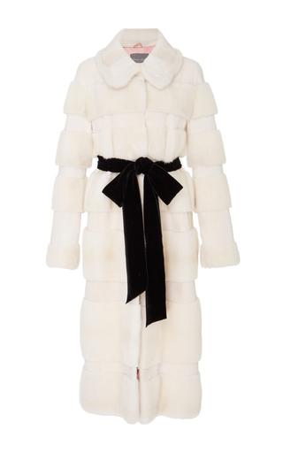 Medium monique lhuillier white mink laser shaved insert coat