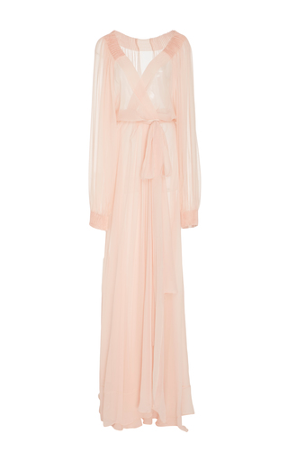 Medium monique lhuillier neutral silk long sleeve gown