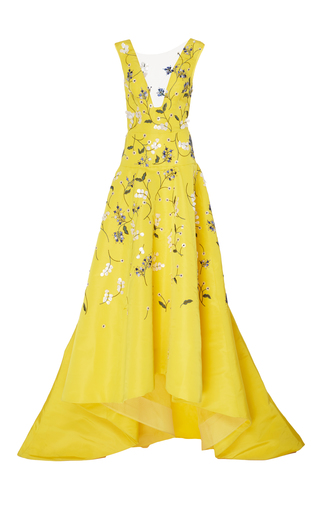 Medium monique lhuillier yellow silk v neck asymmetric gown