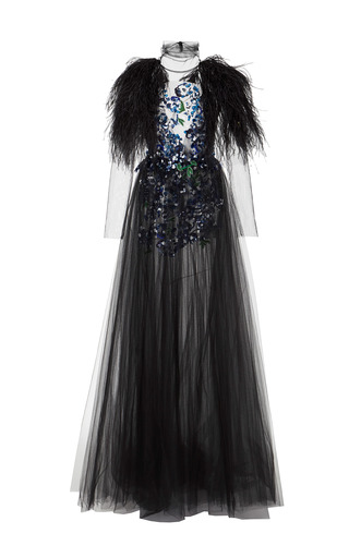 Medium monique lhuillier black long sleeve embroidered gown with feathers