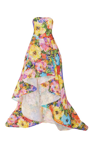 Medium monique lhuillier print floral printed strapless asymmetric gown