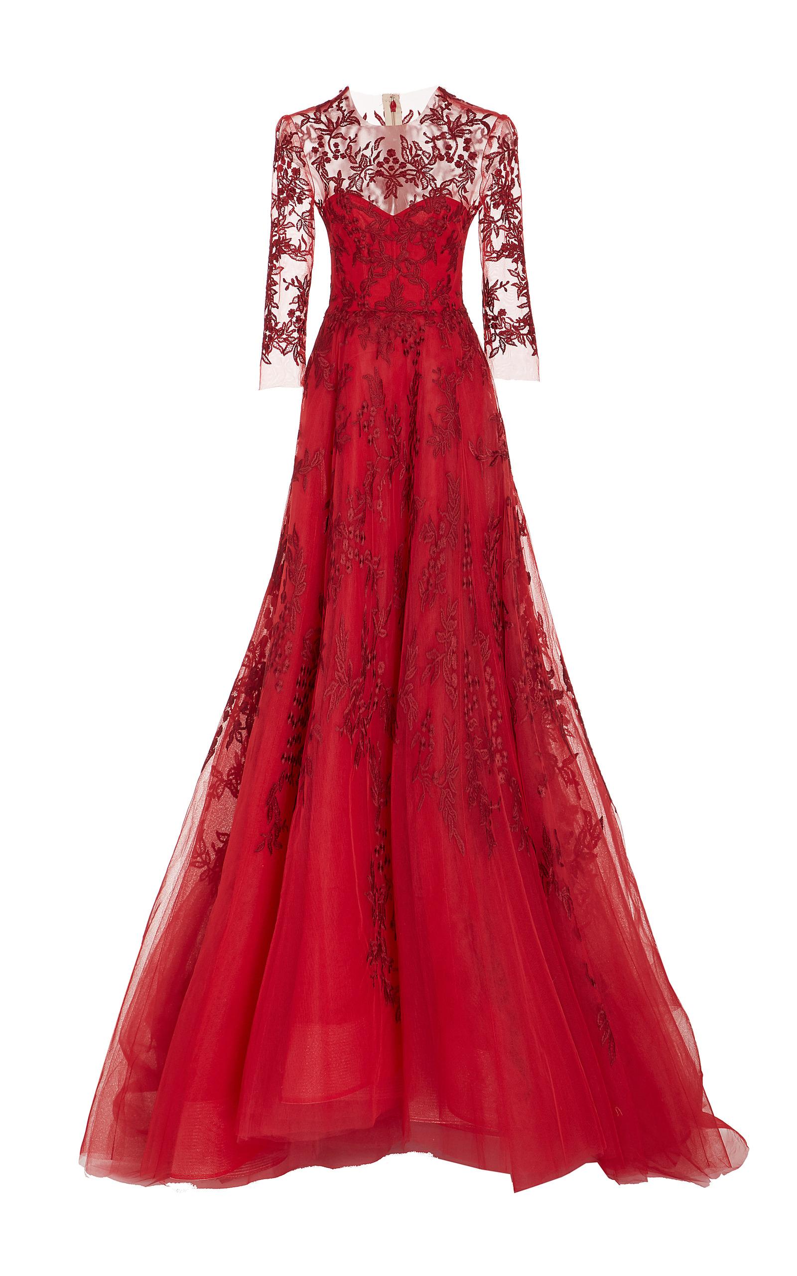Long Sleeve Illusion Gown by Monique Lhuillier | Moda Operandi