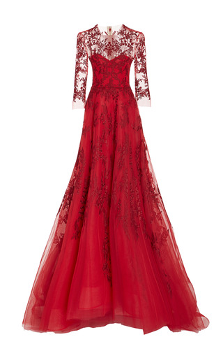 Medium monique lhuillier red long sleeve illusion gown
