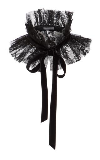 Medium monique lhuillier black lace ruffled collar