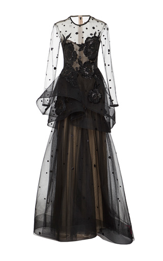 Medium monique lhuillier black long sleeve illusion gown 2