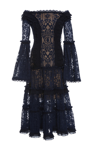 Medium jonathan simkhai navy tower mesh lace off shoulder dress