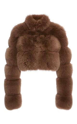 Medium jonathan simkhai brown fox fur crop jacket