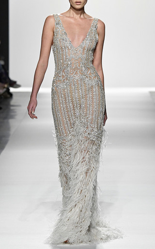 Diamond Tulle Fringe Gown By Jonathan Simkhai Moda Operandi