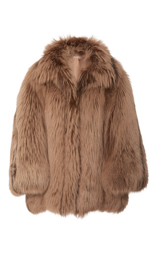 Medium michael kors brown arctic marble fox fur coat