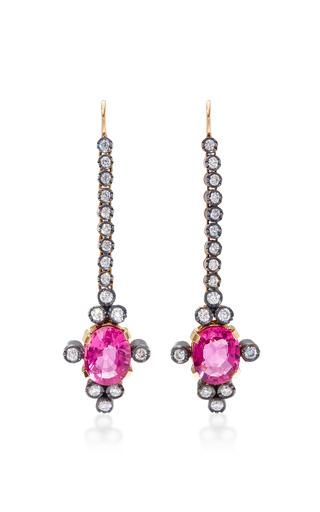 Medium montse esteve pink 18k gold pink spinel and diamond earrings 2