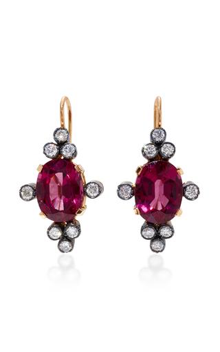 Medium montse esteve red 18k gold rhodolite and diamond earrings 2