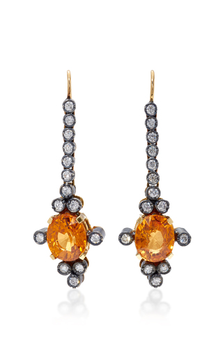 Medium montse esteve orange 18k gold fire opal and diamond earrings