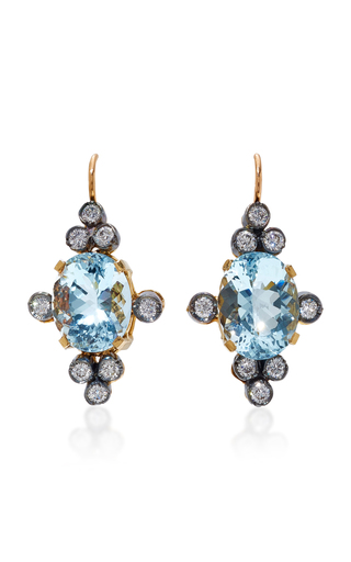 Medium montse esteve blue 18k gold aquamarine and diamond earrings