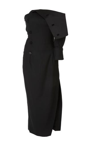 Medium monse black duchess satin fold over dress