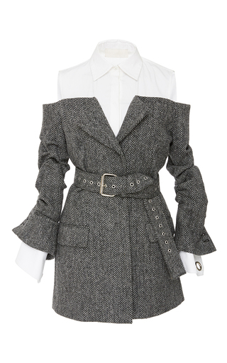Medium monse grey belted herringbone jacket
