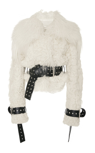 Medium monse neutral shearling bomber with belts