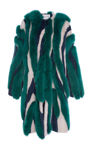 Medium prabal gurung multi striped mink and fox fur coat
