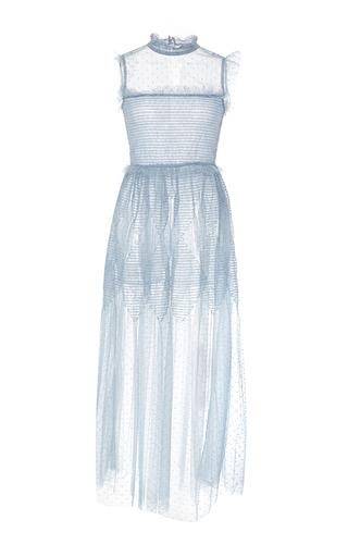 Medium red valentino blue sheer tulle embroidered midi dress