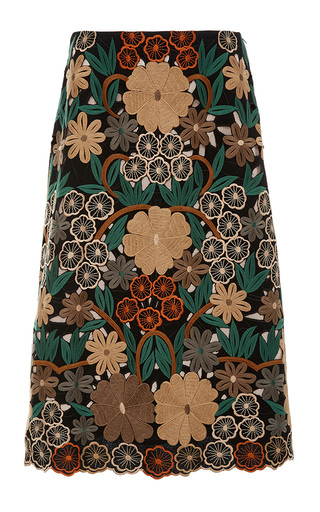 Medium red valentino floral floral embroidered pencil skirt