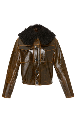 Medium beaufille brown nix patent wool jacket